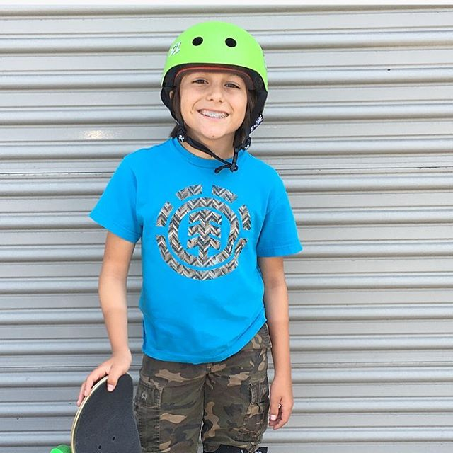 This little ripper stopped by today to pick up some S1 Lifer Helmets ! #s1helmets The S1 Lifer Helmet is 5x more protective than soft foam skate helmets. @asher_bradshaw @elementbrand #asherbradshaw