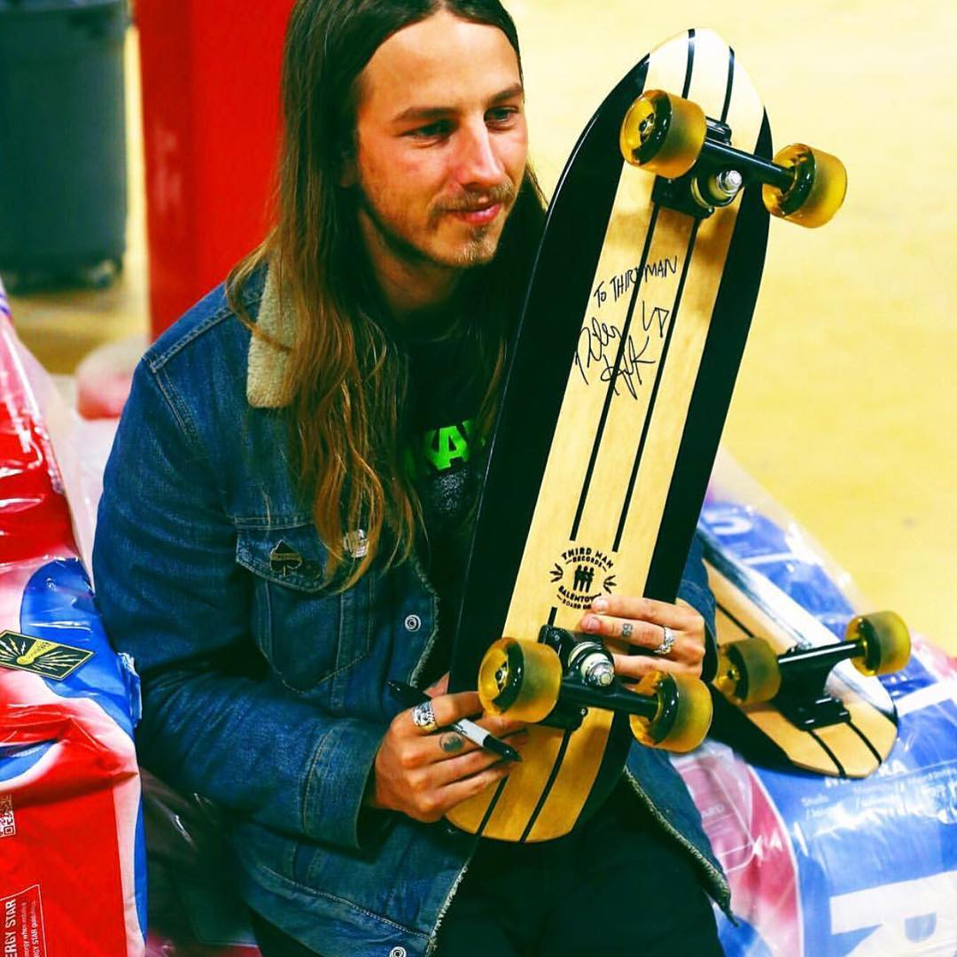 Here is @rileyhawk with one of the boards we did for @thirdmanrecordsofficial