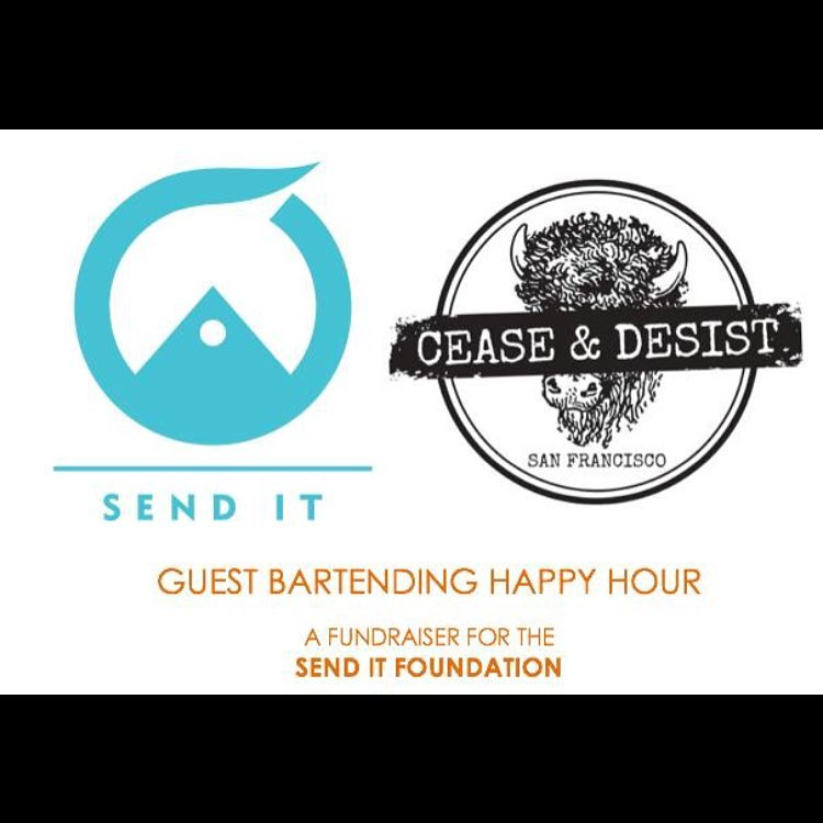 San Fran party people!! See you tonight at #ceaseanddesistsf for the Send It happy hour!! From 6-9 all tips support the @senditfoundation. Raffle prizes from @dannyhess, @carvedesigns @keen @crunchgym @thedailymethod @gorumpl  SEND IT! #sendit...