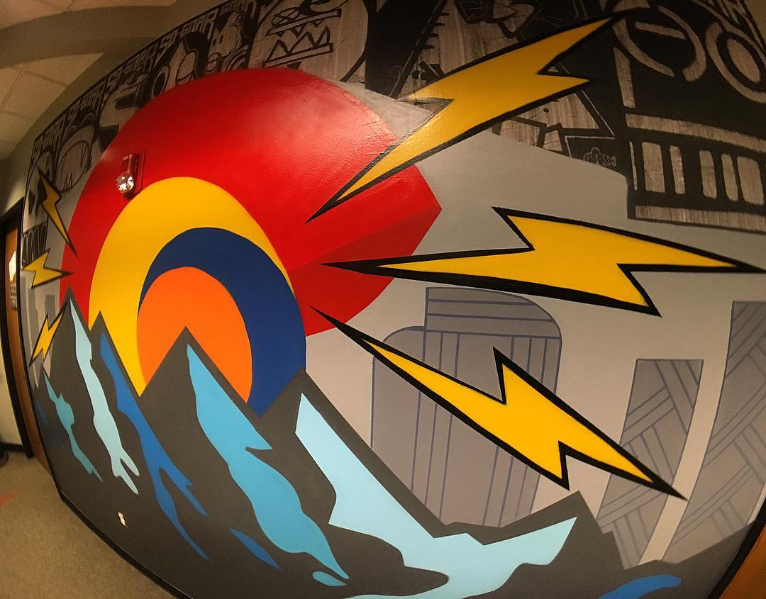 Brand New overnight mural art from @patmilbery & @pat.mckinney in the @iheartmediaofficial Studios in Denver ⚡️ Home of @ktclchannel933 & many other radio stations of the Mile High City. This mural goes out 2 all the radio personalities, thanks for...