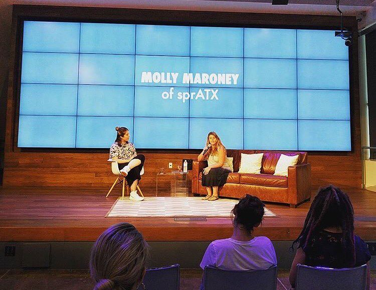 SprATX Co-Founder Molly Maroney speaking @bossbabesatx !!! #onthecomeup • • Along with @recruithercommunity & @weareinhouse • • Big thanks to @almostrealthings for snapping the pic!