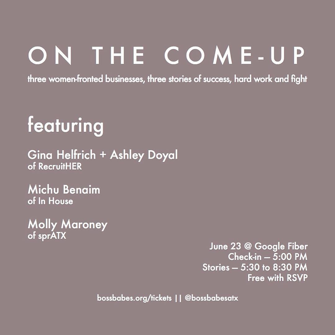 "Our very own, Molly Maroney, co-owner and queen of SprATX will be speaking this evening at the @bossbabesatx event, ""On the Come-Up"" at Google Fiber. Free entry with RSVP • • So proud of you, @yourlittlesista! • • #bossbabesatx #spratx #onthecomeup"
