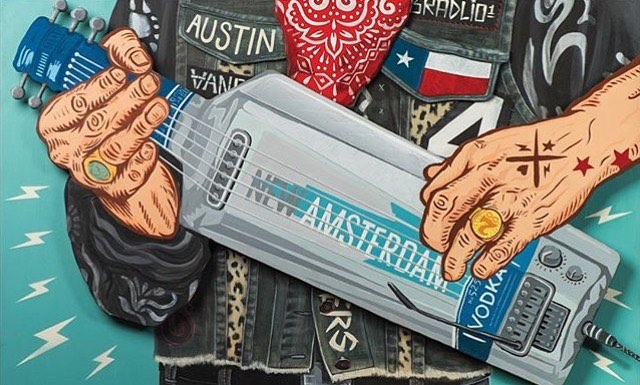 @bradlio1 • • New Amsterdamn Vodka Gheetar!! • • #spratx #austintx #art