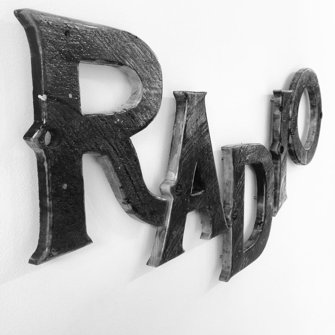 #RADIOS hand cut wood piece from the Letterforms show at @mingogallery in Beverly, Ma. Show is up through early July, be sure to check it out. #radio #mingogallery #beverlyma #handcut #woodwork #wood #reclaimed #typography #letterforms