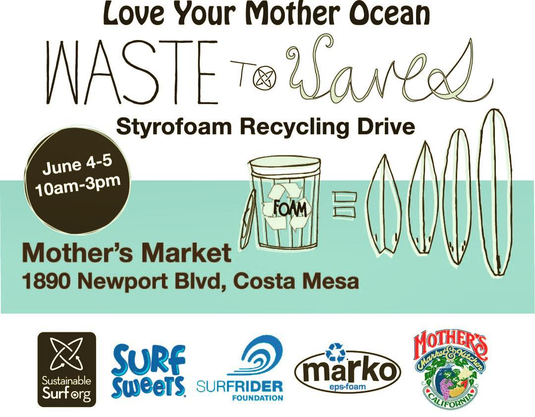 "#WorldOceansDay is just around the corner - we're getting an early start on June 4th and 5th down in #SoCal at @mothersmarkets in Costa Mesa,  CA ~ with a #WasteToWaves ""foam-drive"", featuring cool raffle #prizes for anyone who brings their used ..."
