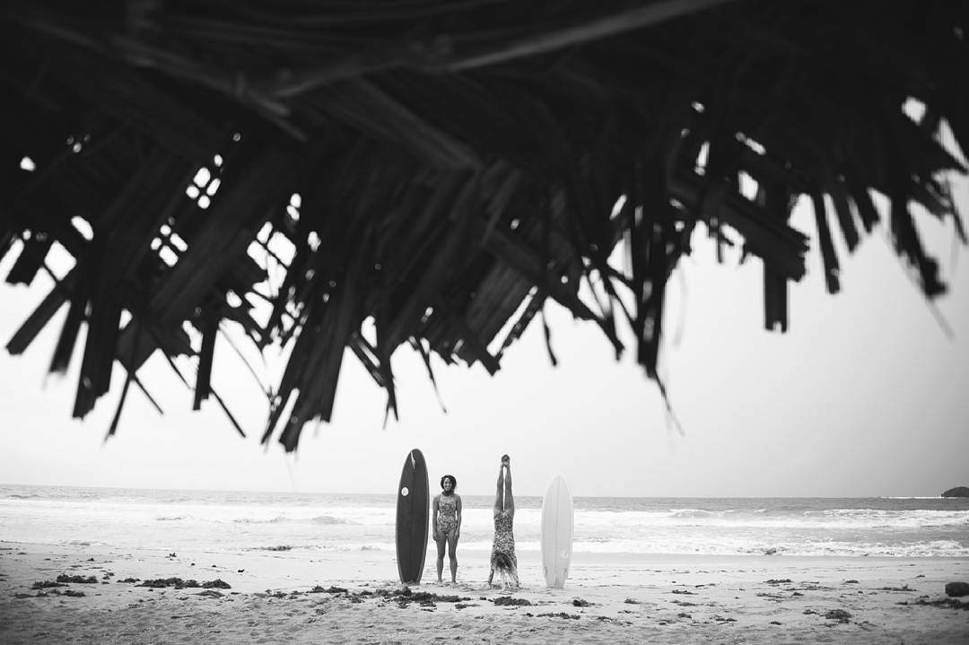Whether on our feet, or on our hands, the beach is where we want to be.  @mele_saili and @Leahloves standing tall with their midlengths as they ready for a Caribbean surf. Photo by @Nick_Lavecchia #seeainpanama #Myseealife #seeababes