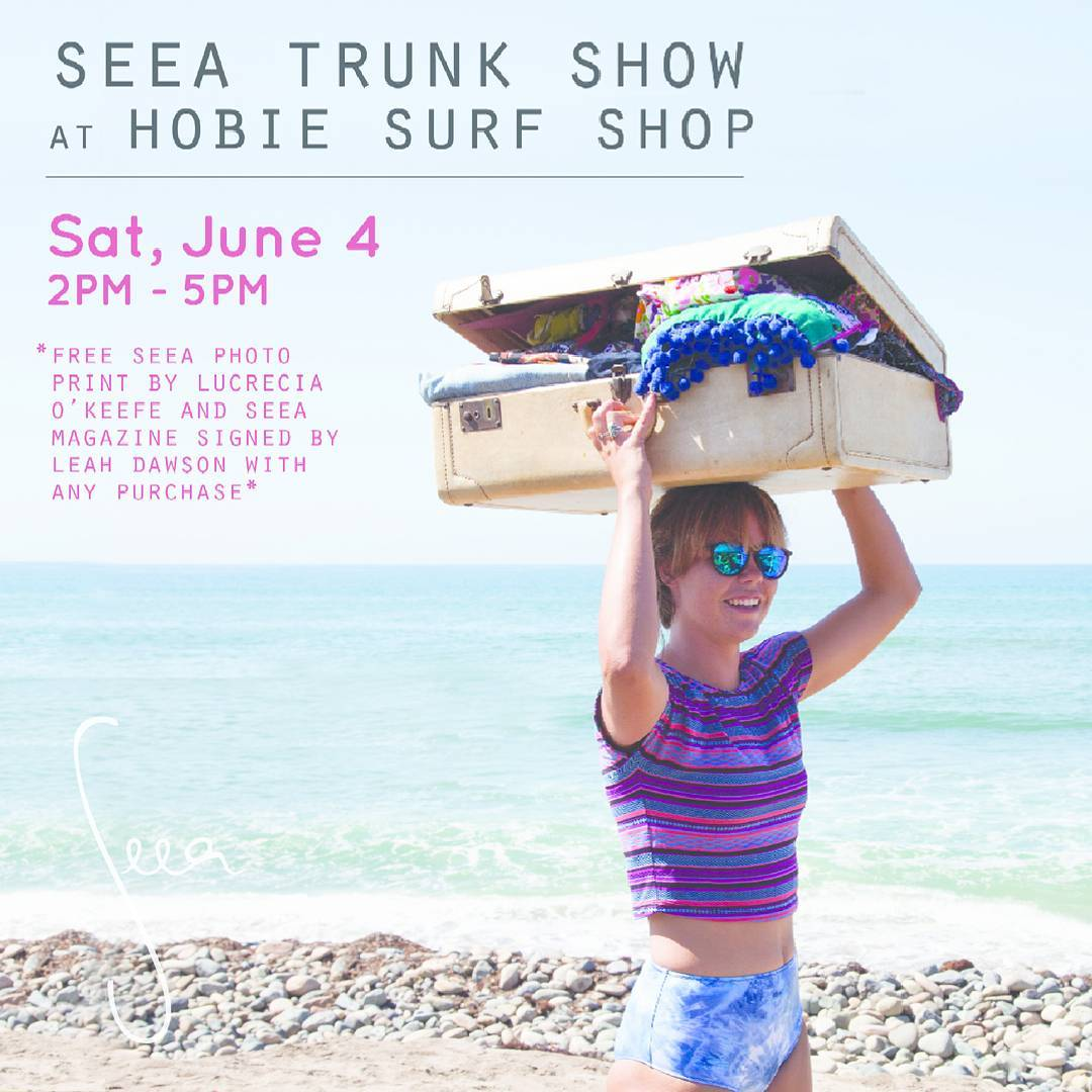 Seea Trunk Show TOMORROW! @hobiesurfshop at 151 Avenida Del Mar, San Clemente! Amanda will dress you up in the suit of your dreams, and get a free printed photo by Luki O'Keefe and Seea Magazine signed by Leah Dawson to take home with it. See you...