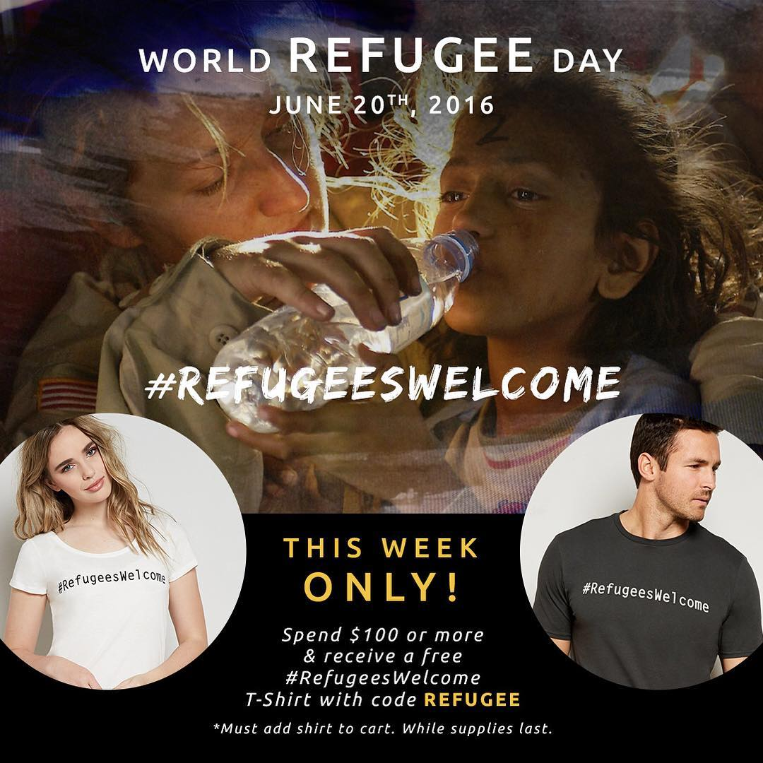 "There are over 60 million displaced people around the world. 60 million human beings, just like you & me. Today, on #worldrefugeeday, we are proud to stand with the @theirc. Join us in telling resettled refugees ""Welcome Home."" #irc #refugees"