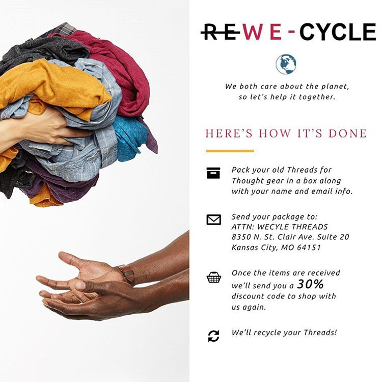 We both care about the planet, so let's help it together -- we just need your old Threads 4 Thought clothes to do so! ♻️♻️ #recycle #threads #dogood #helptheplanet #ecofriendly