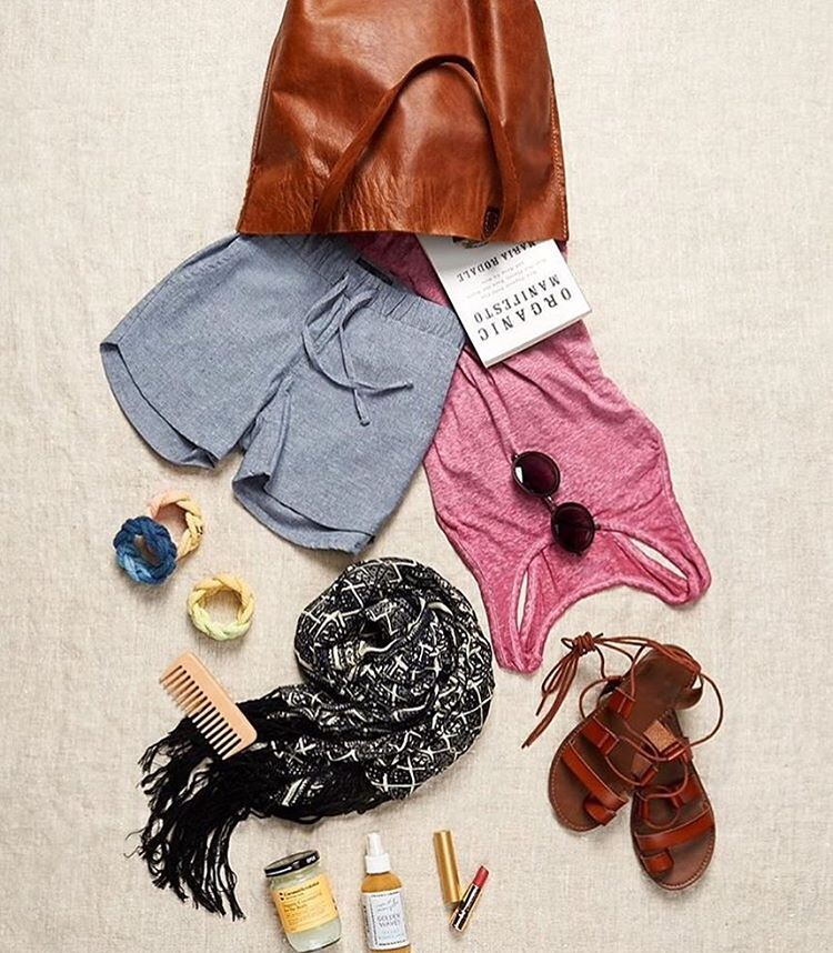 What's in your bag? We see our Hoboken Tank & Taj Mahal Ruana in @shoprodales bag. #whatsinmybag #ethical #sustainable #fashion #style #shop #summer #travel #essentials