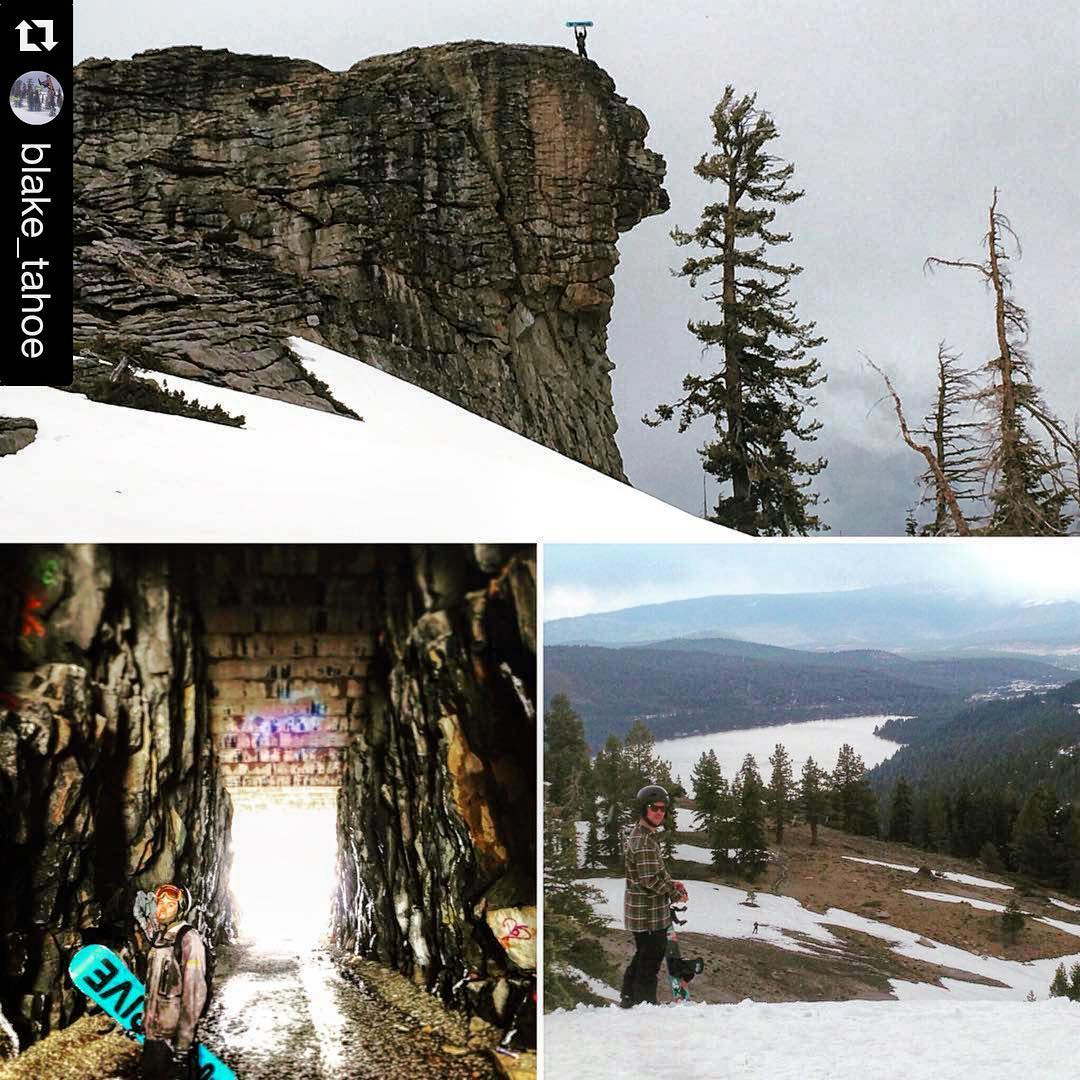 #Repost @blake_tahoe #hiking #snowboarding #tahoe #sierramountains #traintunnel #springriding #thrivesnowboards #donnersummit