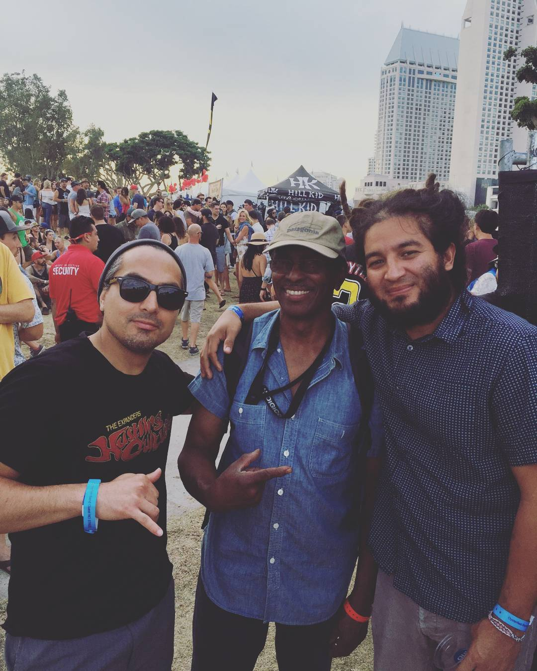 Tony Ray and I taking a picture with Mr. Errol Brown yesterday. He was Bob Marley's sound engineer. Has worked with Cultura Profetica, and now is with Rebelution. #errolbrown #musica #prolificgeneration #oysterfest #oysterfest2016 #sandiego #california