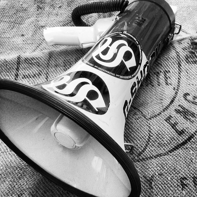 CONTEST- we hit 20k Facebook fans so we're giving away one of our megaphones. Not sure if it still works. GUESS how many ounces it weighs and the first correct answer wins. #steezmagazine #megaphone #contest #20kfans