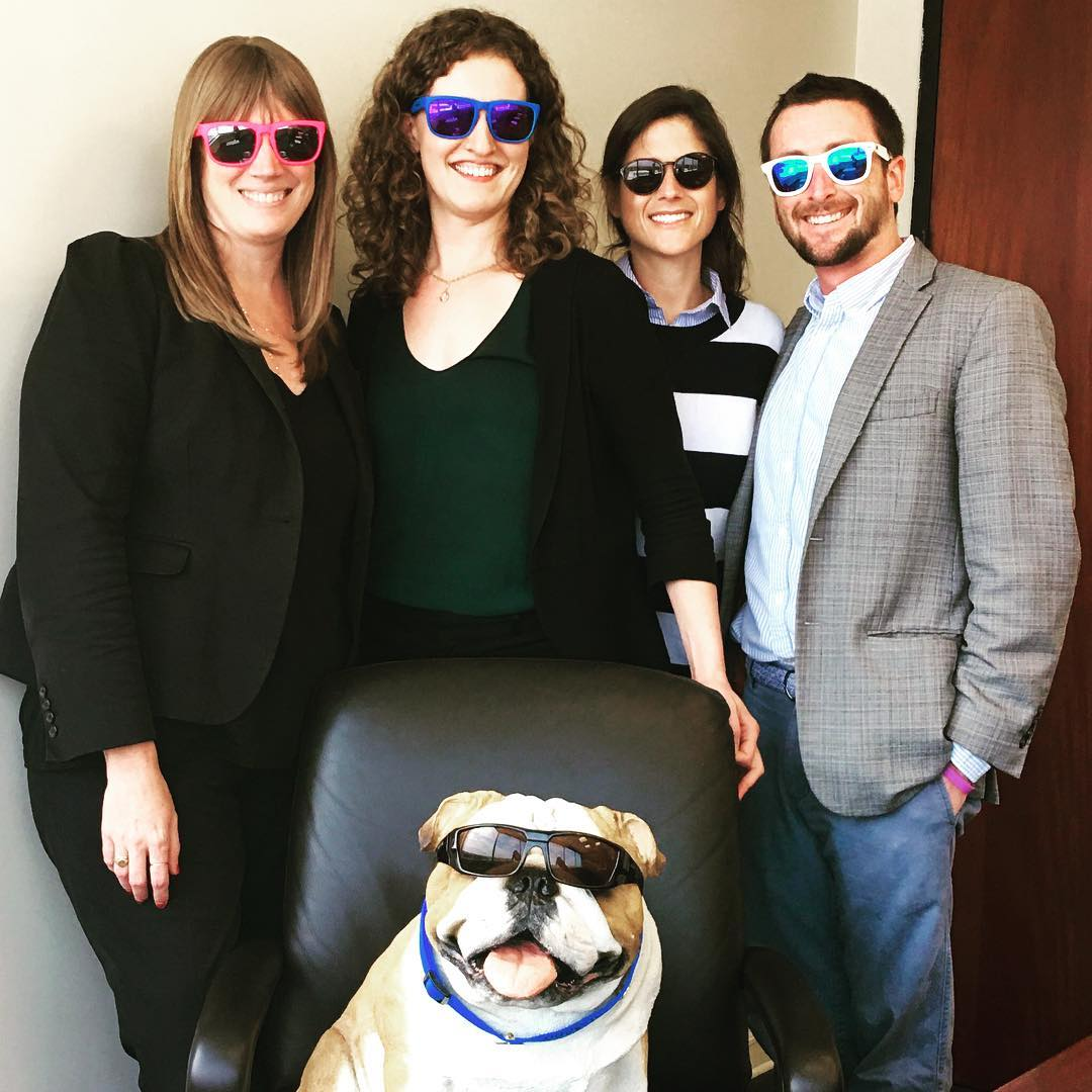 #womblecarlyle team is ready for summer with new #waveborn #sunglasses led by team captain @winston_womblebulldog #findthesun #givesight #baltimore #oldfriends #newfriends