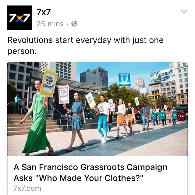 WHO MADE MY CLOTHES? @fash_rev day | So honored to be featured in @7x7bayarea today!! Love all the support from our amazing sustainable fashion community, especially @wildlifeworks. A huge thank you to V. Alexandra de F. Szoenyi @sfcenttric for the...