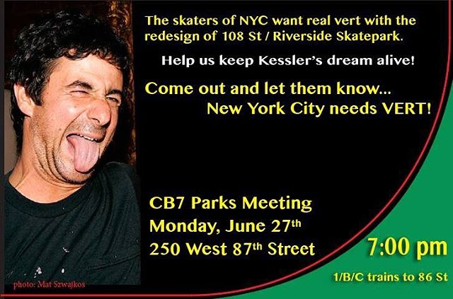 Calling all NYC skaters!! Please come out Monday night to help keep vert in The Big Apple! Your support is needed