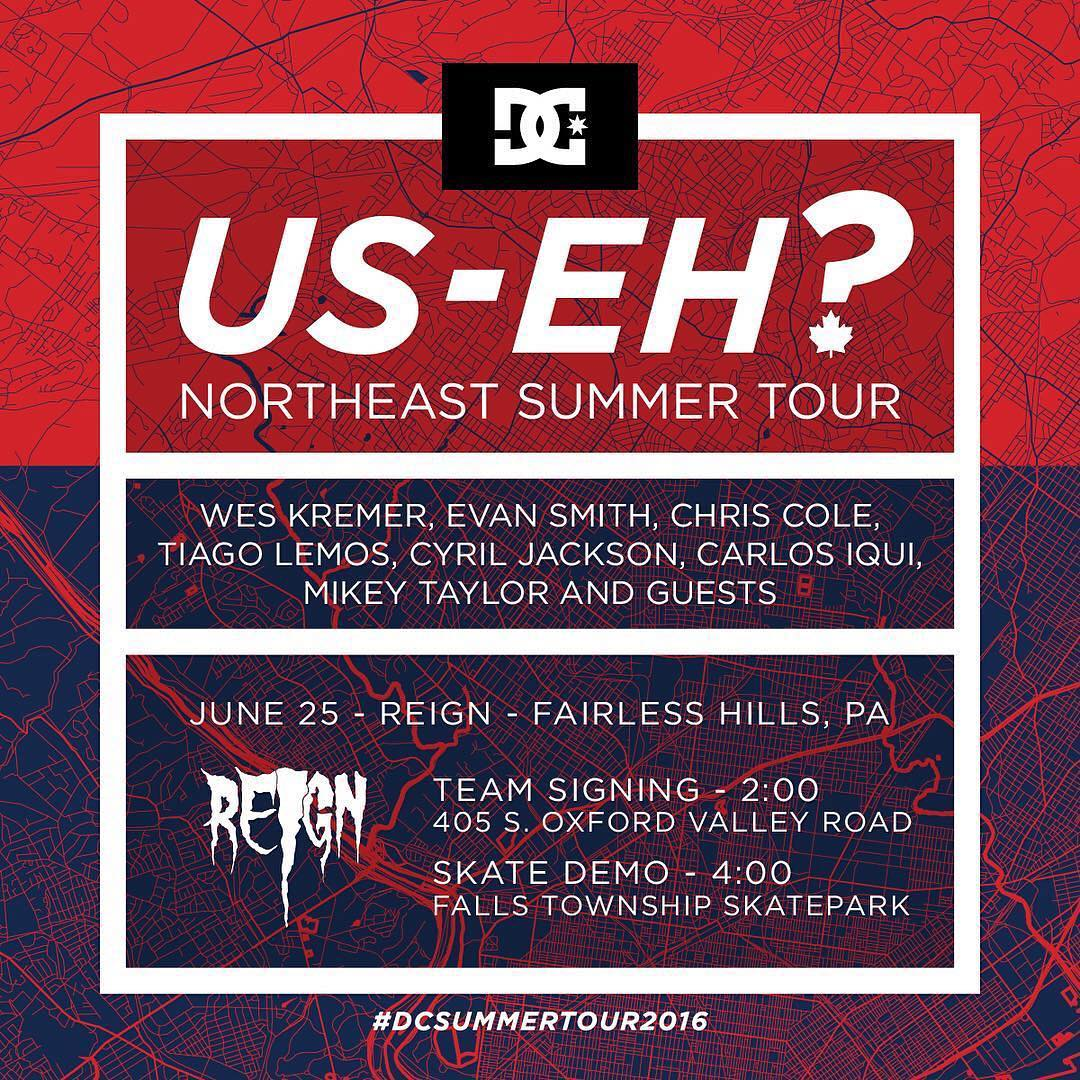 Today at @reign_skate in Fairless Hills, PA, come meet @chriscobracole, @mikeytaylor, @tiagolemoskt, @cyril_killa, @starheadbody, #WesKremer, @chasewebb and @johnshanahanz at 2pm. Demo at 4pm. It's going to be