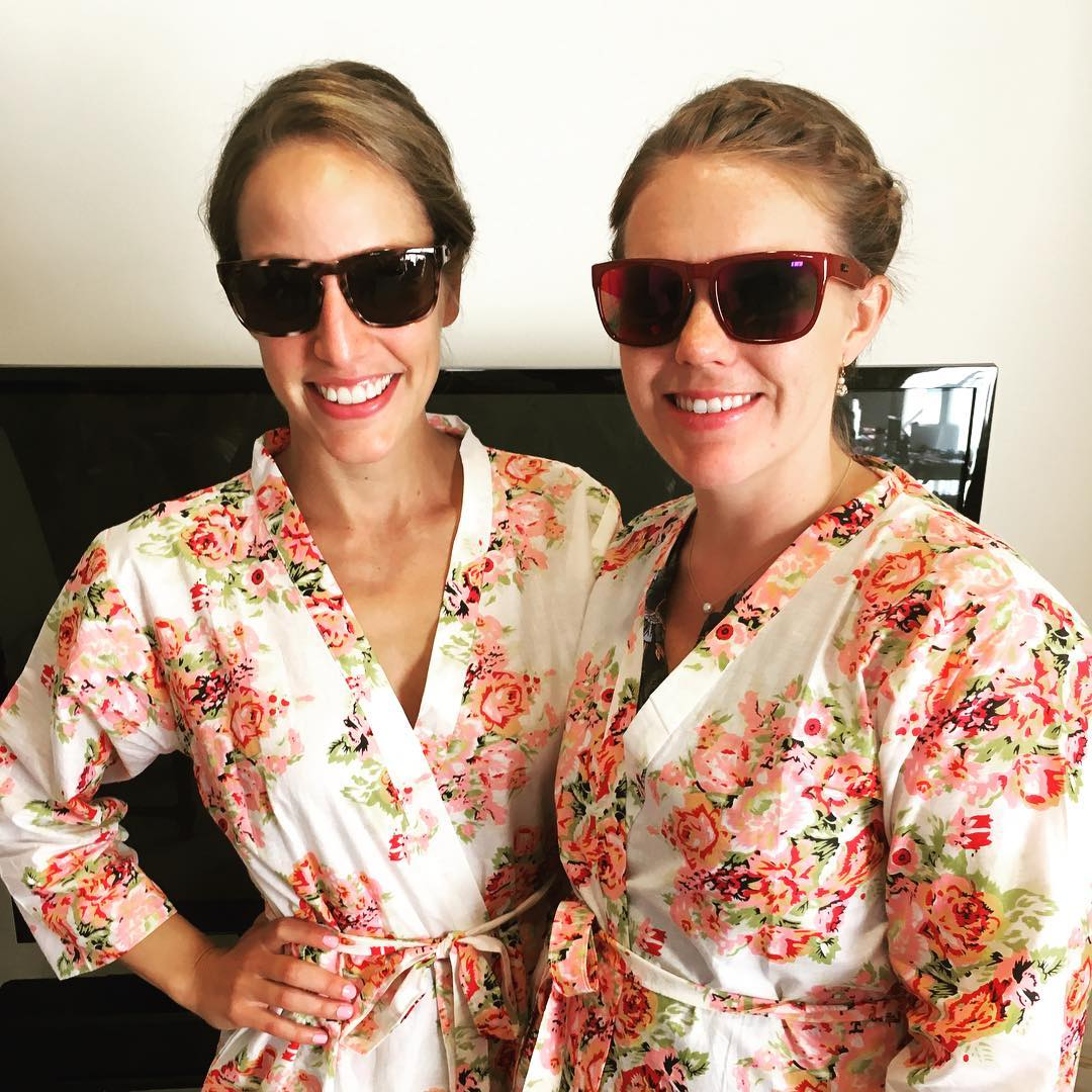 Bridesmaids getting ready for Melissa and Patrick's #wedding in their new #waveborn #sunglasses #givesight #pbandmelly2016