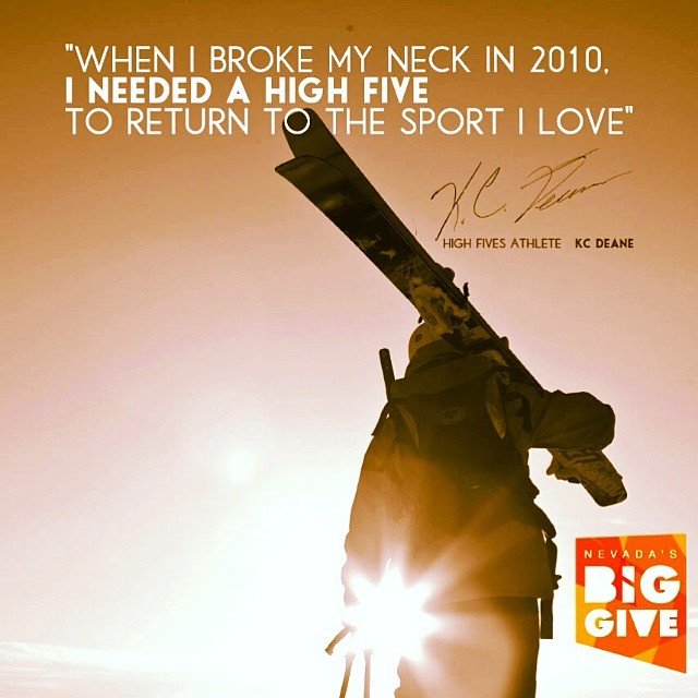 The Nevada's Big Give fundraiser closes at 11:59pm TONIGHT! Can YOU help us reach $3,000 in one 24-hour day of giving and help support #HighFivesAthletes like @kcdeane recover from life-altering injuries? #GiveWhereYouLive #NVBigGive