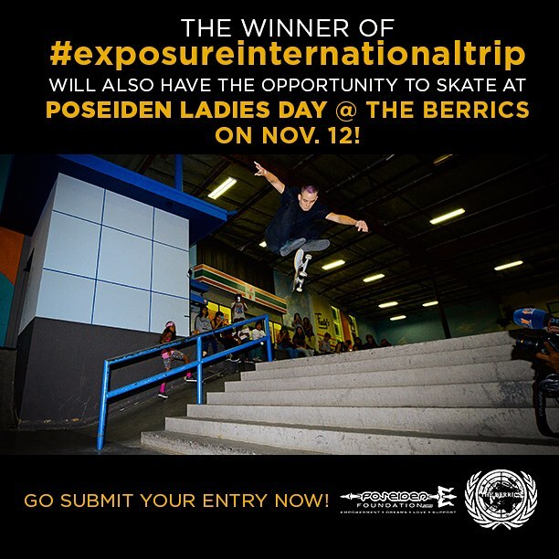 Did we mention that the #exposureinternationaltrip includes up to a month of lodging in Southern California? That means that the winner can plan their trip to include the @poseidenfoundation ladies day at the @berrics event! Here is @leeroythegreat...