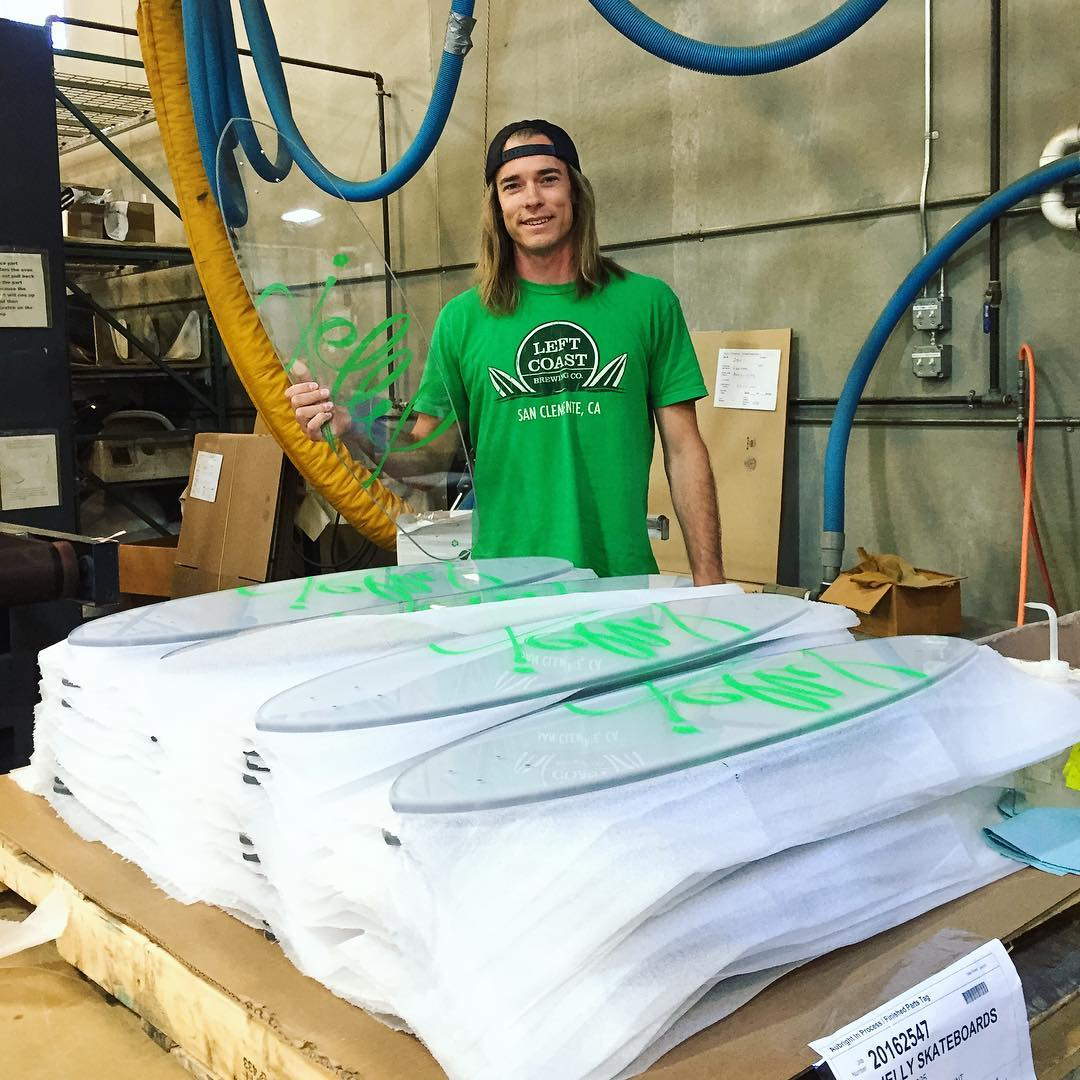Our CEO/Co-Founder, @thesvensation, inspecting the latest batch of #jellymanowar #longboards at our factory in #Minnesota! #jellyskateboards #jellytour #roadtrip #factoryvisit