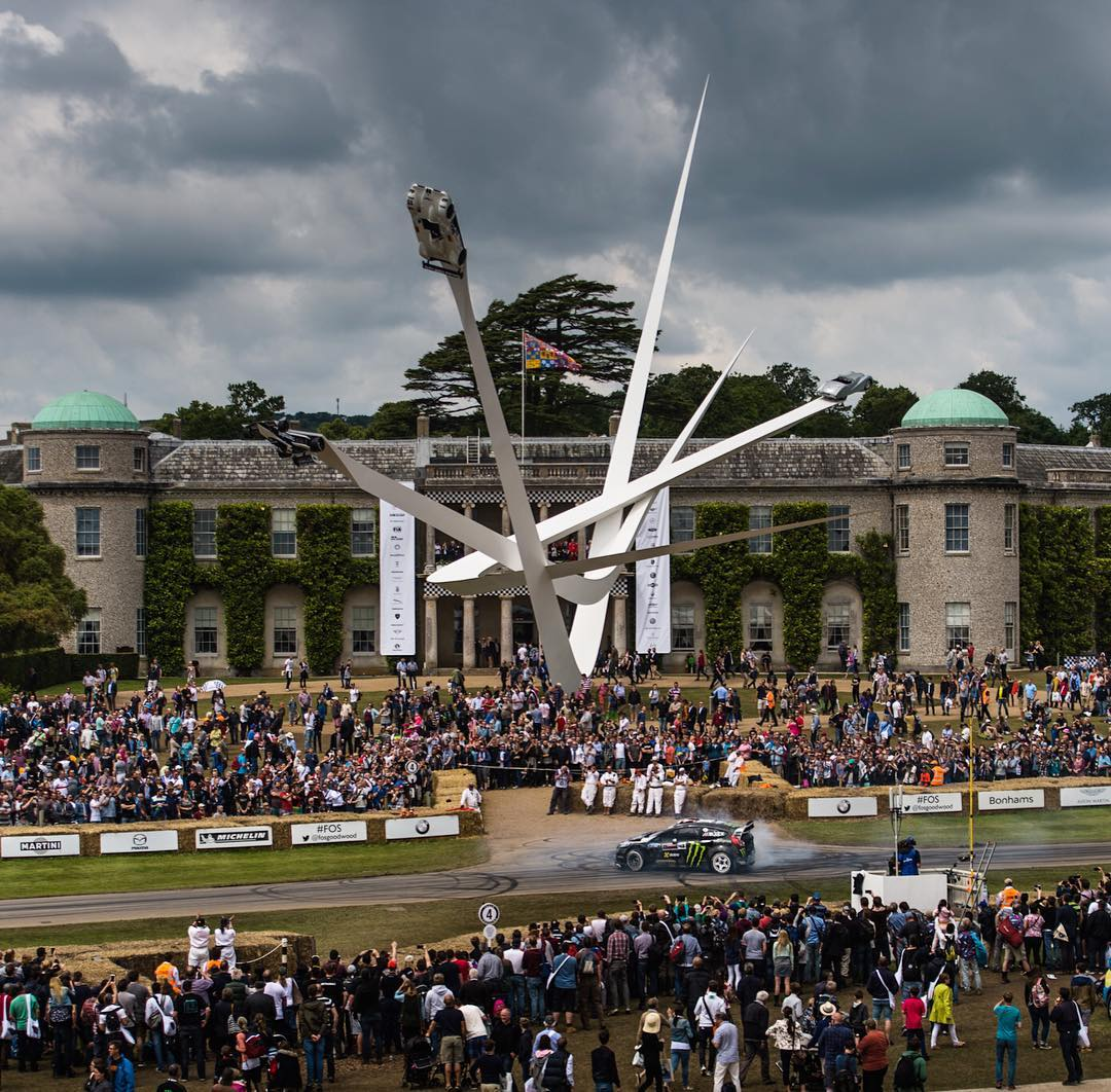 This photo really gives you an idea of just how big the Goodwood Festival of Speed really is. You're seeing just the house itself and the one area where there's enough room to do some quick donuts mid-run up the hill. The whole estate is filled with...