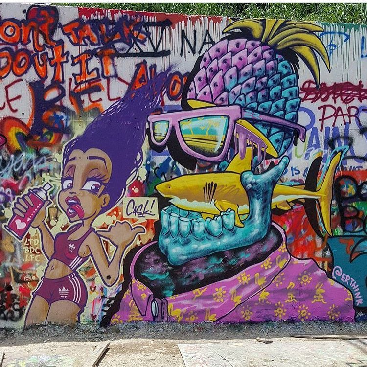 @killahcaskone & @erthink Summer is upon us! • • Photo by @southside_austintexas • • #ATX #austintx #texas #erthink #caskone #graffiti #streetart #mural #art #summer #spratx