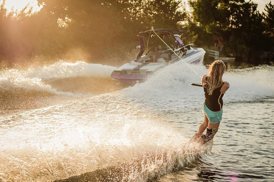 Long summer days on the boat, you need some @hovenvision shades.  @melissa_marquardt enjoying some California golden hour riding on the Delta.  Photo credit @canevariphoto. #hovenvision #wakeboarding #california #goldenhour