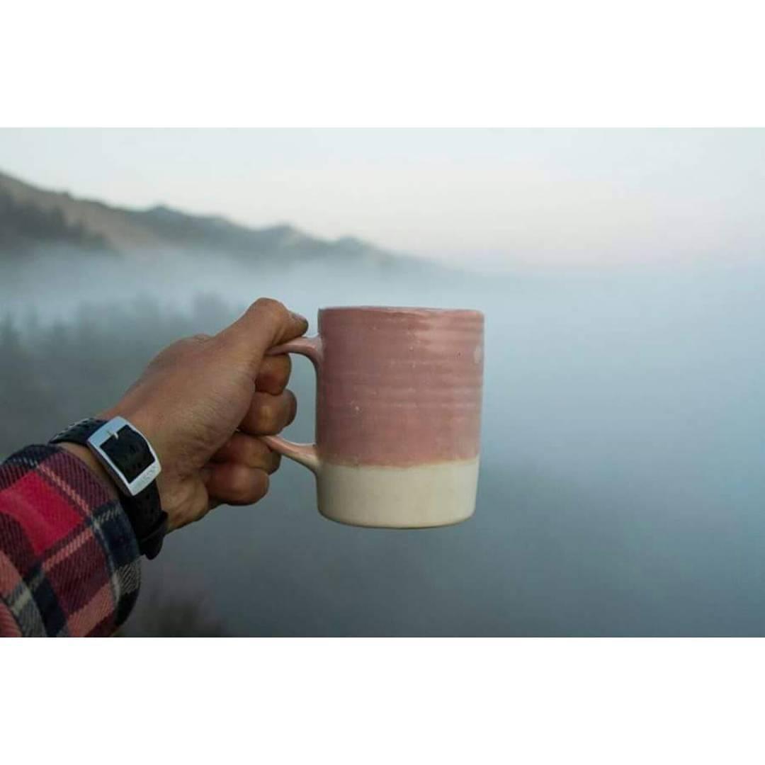 Buen día empieza con un buen café.  Taza rosa de la serie Casa Mambo desde Yosemite. / Good morning starts with a good coffee. Pink Mug from Casa Mambo series / Yosemite Park . . #casamambo #ceramics #goexplore #outsideisfree #fog #morning #traveloften...