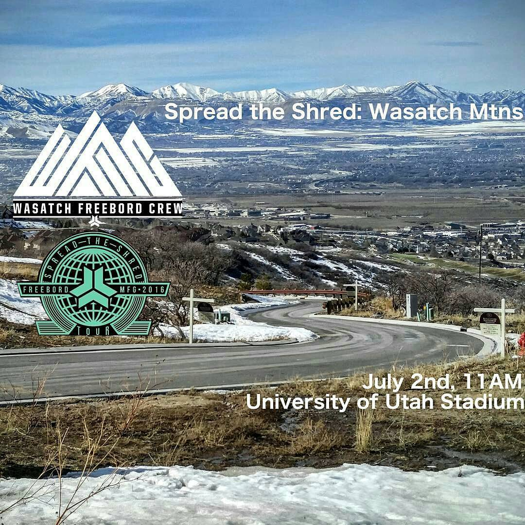 Make sure you get out to Utah this weekend for the #spreadtheshred event hosted by the @wasatchfreebord crew. - - - - - - #freebord #snowboarsthestreets #wasatch