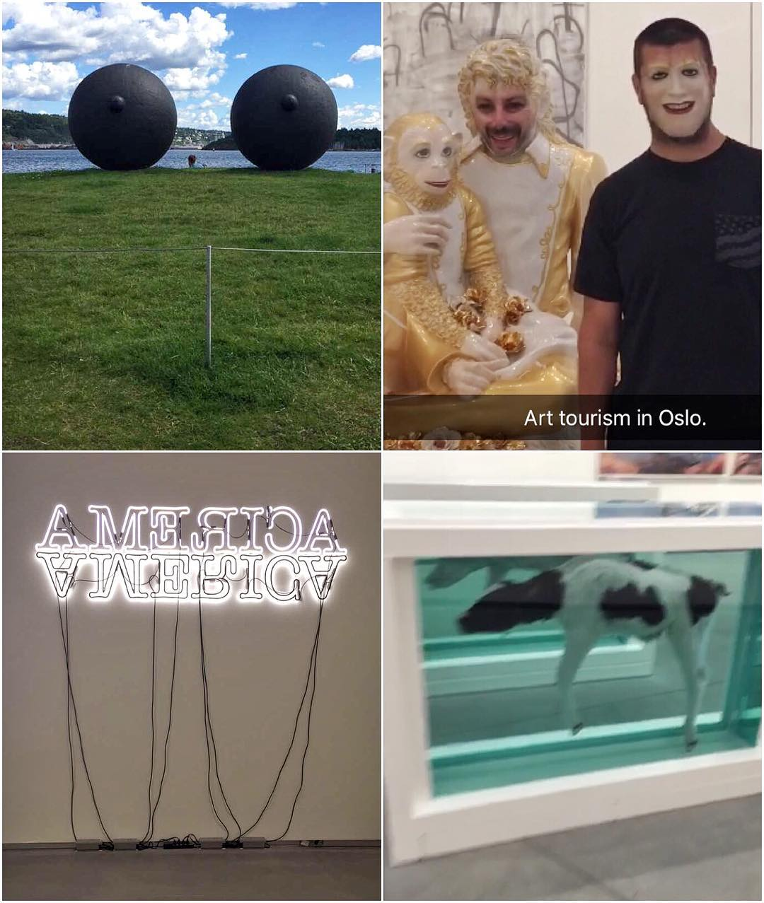 Explored some of the finer parts of Oslo today, including its art. Very interesting art. Guess which one's my favorite? #artboobs #arttourism #faceswapwithMJ #Snaps #JeffKoons #DamienHirst #Oslo
