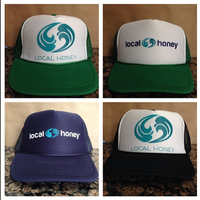 New hats are in! $15 through the end of May!  Email orders to info@localhoneydesigns.com #localhoneydesigns #truckerhats #workhard #playhard #sunprotection #wavelogo