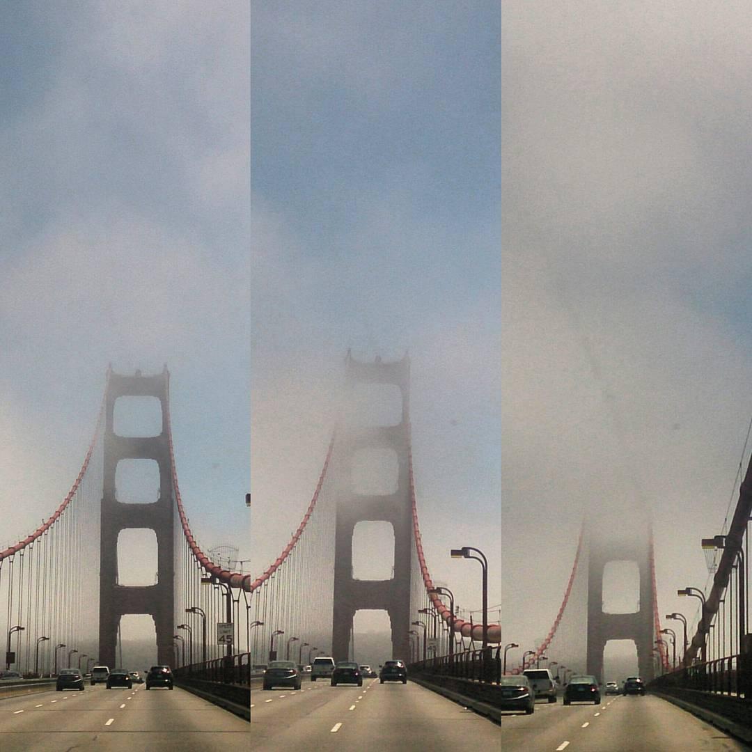 La hermosa niebla qe nos oculta parte del puente. #GoldenGate #Frisco #USA