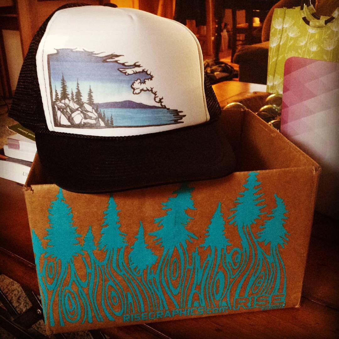 Just re-stocked our lake cloudscape trucker hats. Thanks for the
