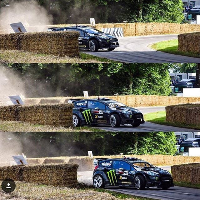 Close call for the Ford Fiesta RX43 and me at the Goodwood Festival of Speed this past weekend. Because being conservative is no fun! Dope shots/regram from @haucksie. #noriskitnobiscuit #ifindoubtflatout #handfulofhandbrake #GoodwoodFOS