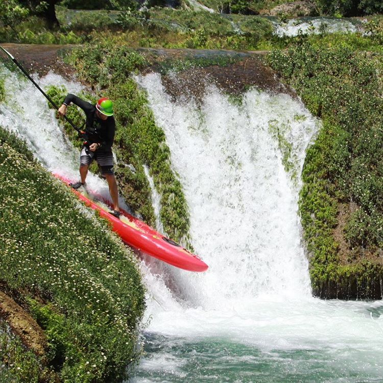 @supmexicoaaron wow this looks like fun!  Aaron shredding some perfect waterfalls in Mexico. #shredready #cuzrockshurt #mexico #sup