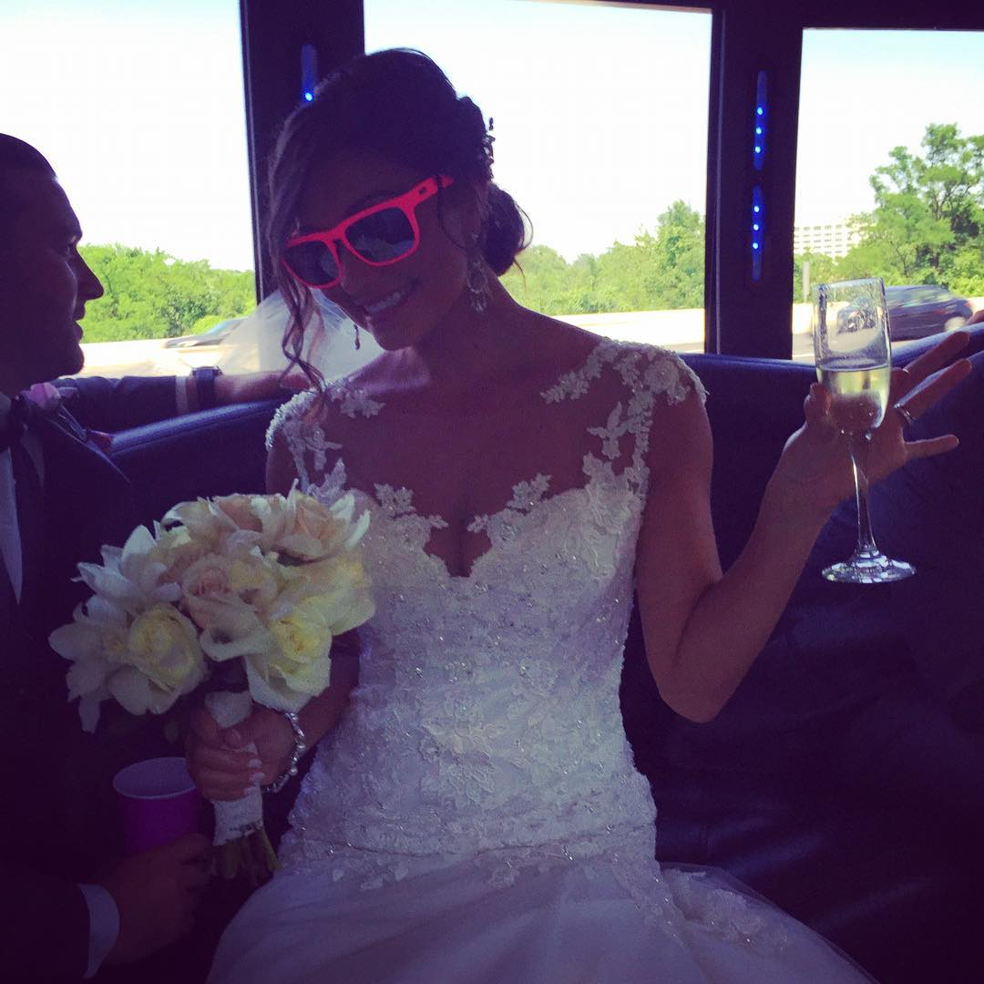 Congrats to @mdigiulian and Patrick on their wedding! She looks astonishing in her white dress and fuchsia #waveborn #beacons #wcw #miss #maryland #givesight
