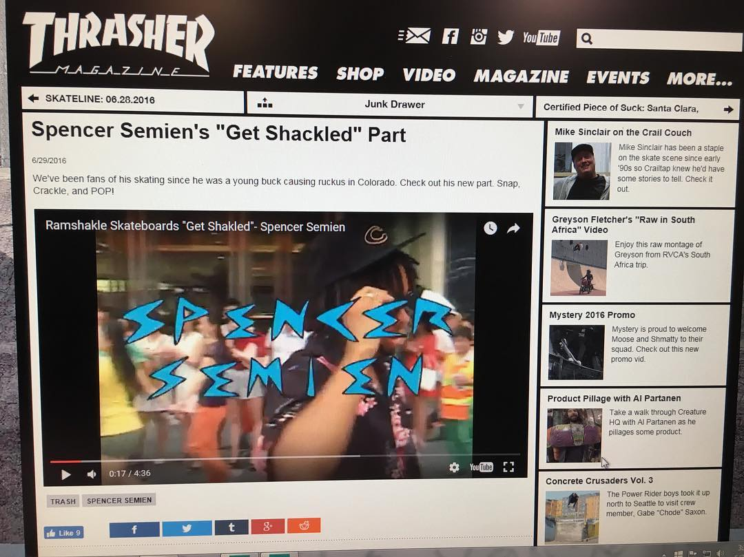 Our boy @showmeyourtitties made it on @thrashermag website, so you know his part is amazing! Go take a look! #ramshakleskateboards #getshakled #skaterowned #skateboarding