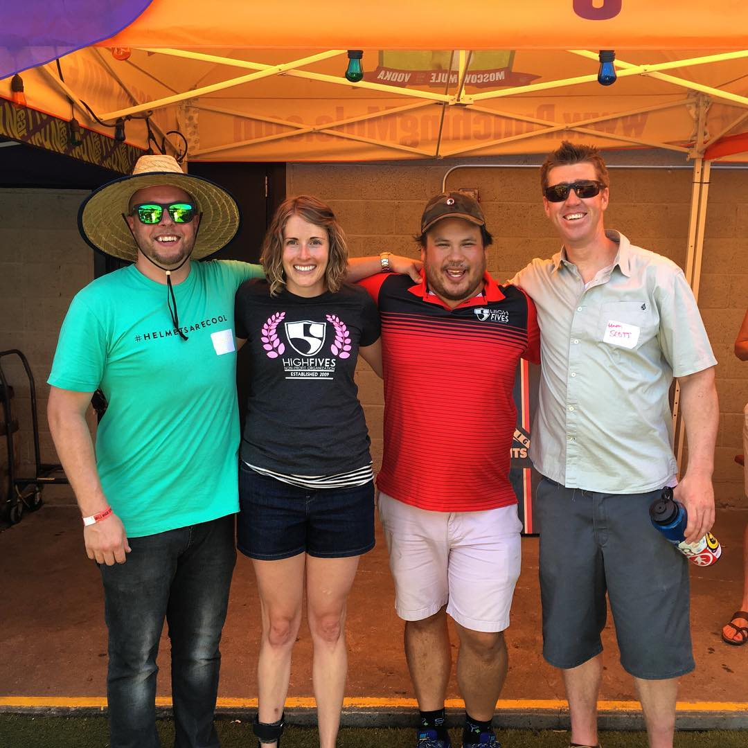 The crew at @phunkshunwear's Cornhole & Cocktails benefitting High Fives! High Fives Advisory Board Member @jaybadge, #HighFivesAthlete @sallyfranck, Advisory Board Member @jonnyklemchuk and Advisory Board Member Scott Loveless...