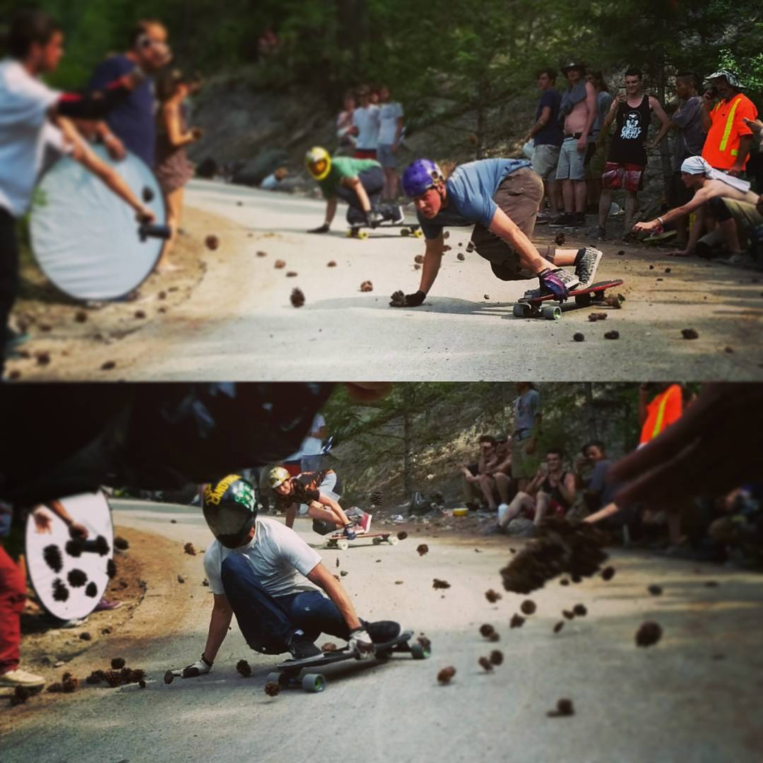 All @landyachtzlongboards finals about to drop at @giantsheadfreeride  @dillonstephens vs @lainejackart  #GiantsHeadFreeride #freeride #longboarding #pinecone