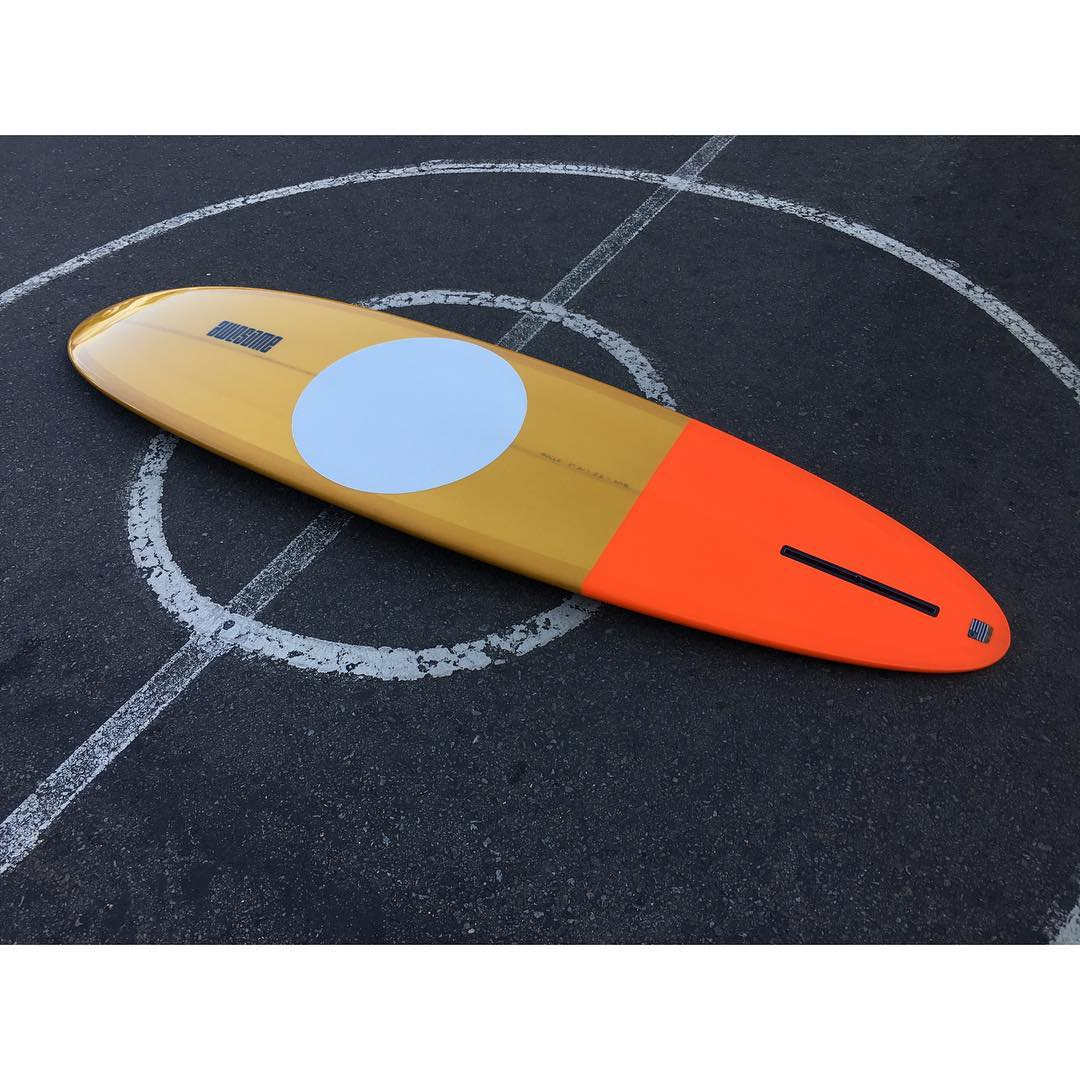 """Hullk"" single fin prototype. 7 x 22 x 2 1/2 with 40 L. Hull to vee bottom. mustard resin tint. #awesome #awesomesurfboards#singlefin  glassed by @pureglassinc ."