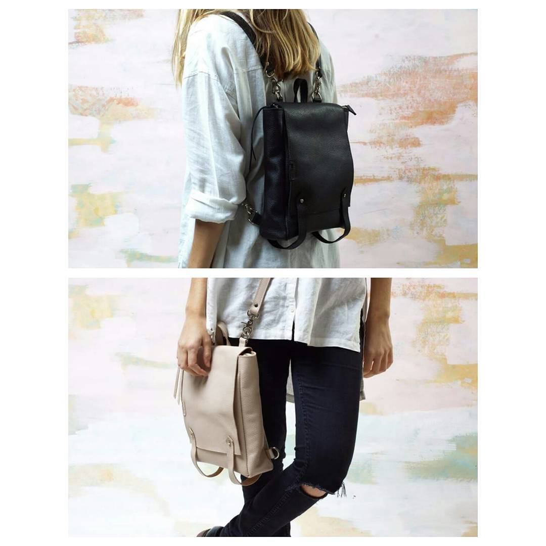 Mochila/ cartera Almendra en negro y natural. Encontrala en www.mambomambo.com.ar  Almendra backpack/ bag in black and nude. Available at www.mambomambo.com.ar