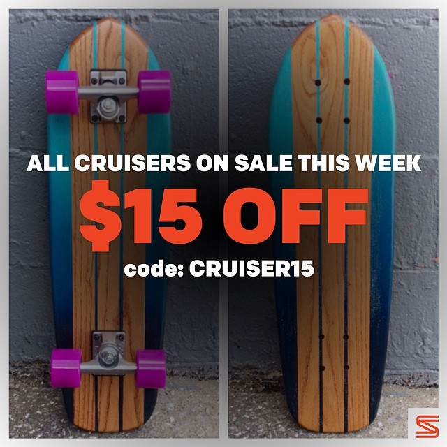 "All this week cruisers are on sale! $15 OFF.  Head over to salemtownboardco.com and pick up a cruiser. Input code ""CRUISER15"" at checkout"