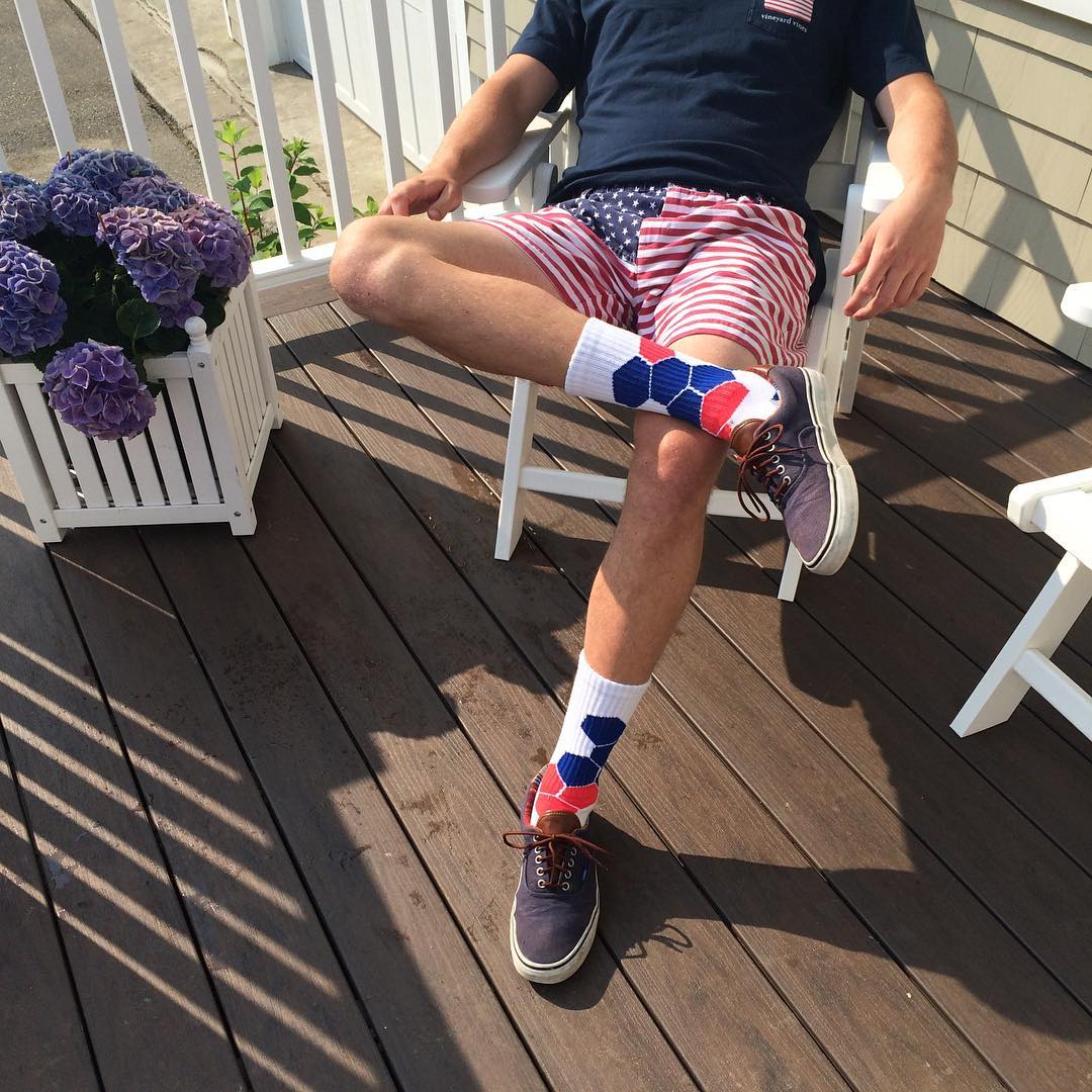 Can you smell the patriotism brewin' for the #4th? @mcdermit_  certainly can. Time to #grabapair #America #RedWhiteandBlue #bro #brolife #starsandstripes #socks