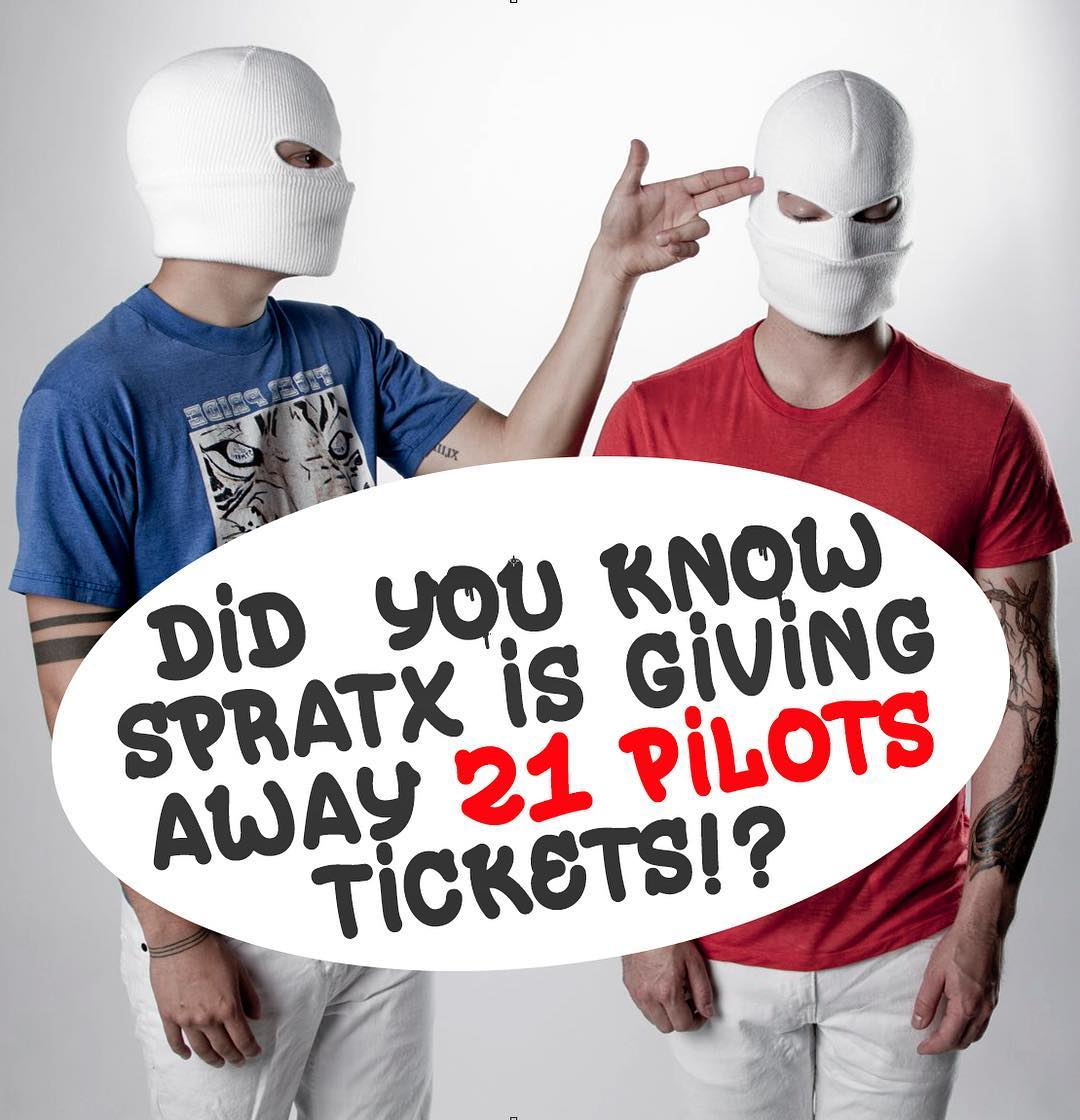 Want to win tickets for you and a friend to see the sold out @twentyonepilots show in Austin July 6th? • • If so, follow these simple steps. 1.  Screen shot the image above 2.  Post with @spratx #spratx telling us why you are their biggest fan! 3. ...
