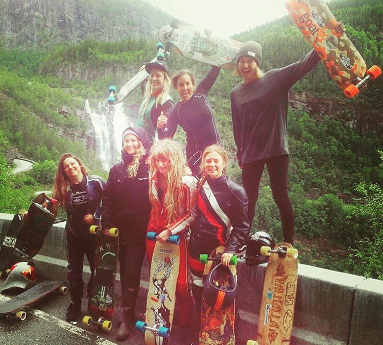 The ladies racing @ekstremsportveko in Norway!  Women Podium: 1. @skatebagels  2. @jennyschauerte  3. @frisak  Dream track! Congrats to everyone who was part of it.  #longboardgirlscrew #womensupportingwomen #skatelikeagirl #ekstremsportveko...