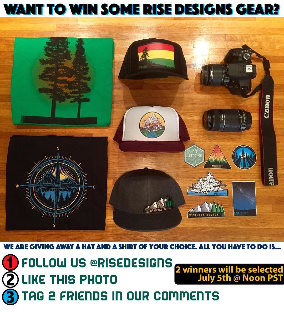 Contest! Want to win some free Rise Designs gear? All you have to do is: 1) Follow us 2) Like this photo 3) Tag 2 friends in the comments. Easy right? We will pick 2 winners on Tuesday and they will have their choice of 1 hat and 1 shirt from our...