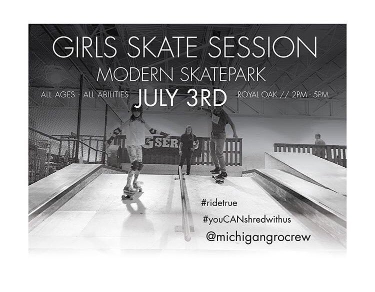 We hope to see all the #ladiesofshred in the area, at our next @michigangrocrew session this Sunday (July 3rd). All ages and abilities welcome, and encouraged to come! It's a great way to meet #girlswhoskate  Keep in mind we have these session every...