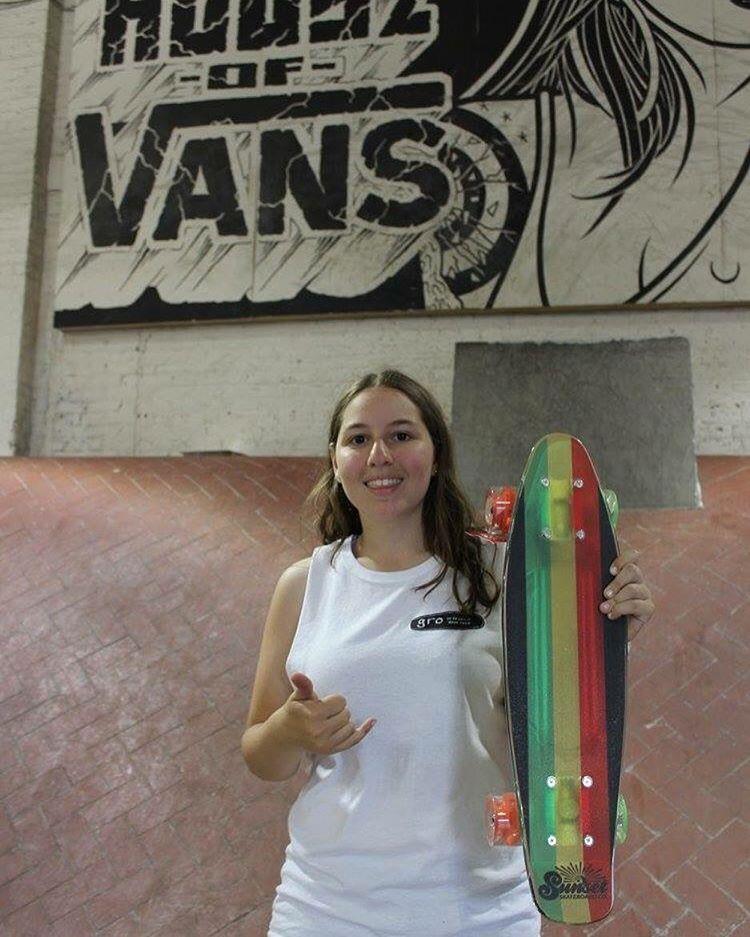 @ali_axelrod loves the @sunsetskateboards she won at our 10 year celebration @houseofvansbk