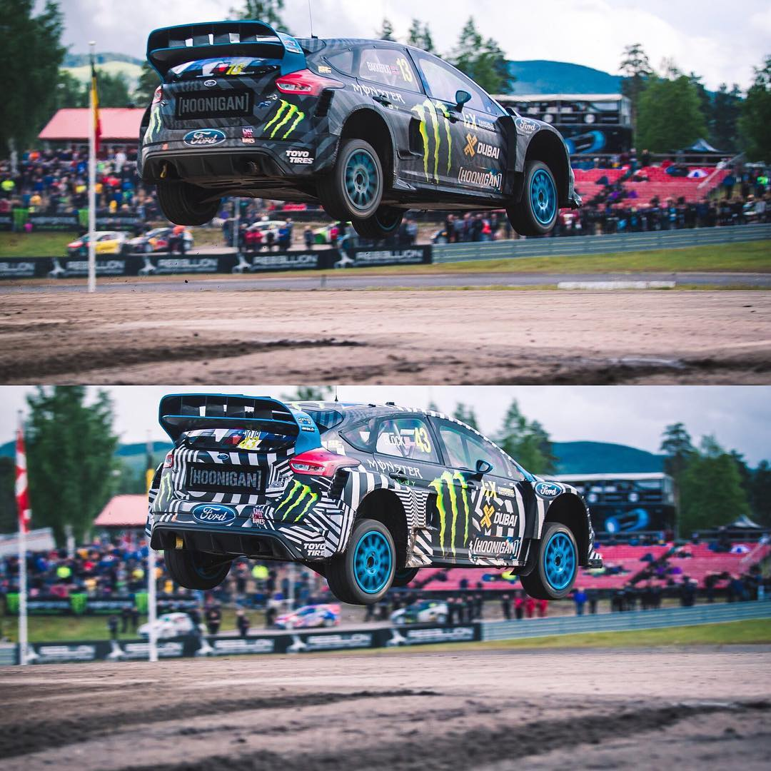 Who hucked it better @kblock43 (bottom) or @andreasbakkerud (top)? Round of @fiaworldrx in Holjes is on! #Airhoonage #WorldRX
